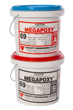Image of Megapoxy 69 professional grade two part epoxy adhesive, perfect for creating a tight seamless joint