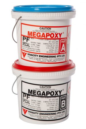 Image of Megapoxy PF professional grade two part epoxy adhesive, best product for for fitting stone in particular on vertical surfaces